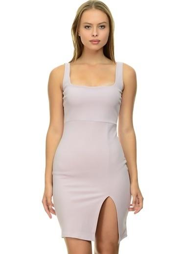 Missguided Missguided Koyu Lila Kare Yaka Yırtmaçlı Kadın Elbise Lila